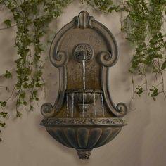 "33"" Italian Style Copper Finish Cascading Outdoor Patio Garden Wall Water Fountain Outdoor Wall Fountains, Indoor Water Fountains, Garden Fountains, Outdoor Walls, Outdoor Decor, Outdoor Living, Porches, Fiberglass Resin, Walled Garden"