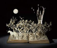 The Last Unicorn l Portfolio Book-Cut Sculpture l Artist: Su Blackwell Unicorn Books, Unicorn Art, The Last Unicorn, Altered Book Art, Portfolio Book, Up Book, Paper Book, Paper Artist, Art Plastique