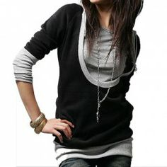 $7.22 Preppy Style Scoop Neck Splicing Color Matching Hooded Long Sleeves Black Brushed Hoodies For Women