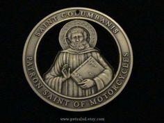Bronze medallion with Saint Columbanis - patron Saint of Motorcycles