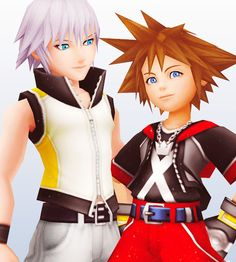 """I don't ship them at all but the way Riku's looking at Sora like""""yeah, that's my boo"""" it gets me every time."""