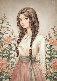 watercolour illustration girl with braids pink roses Anime Art Girl, Anime Girls, Illustration Girl, Watercolour Illustration, Girl Illustrations, Illustration Fashion, Aesthetic Art, Cute Drawings, Cute Art