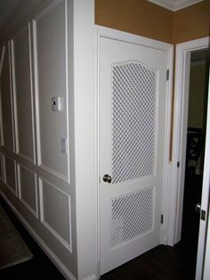 What a cool idea, custom vent panels for a pantry door that really pops The Effective Pictures We Offer You About hallway closet doors A quality picture can tell you many things. You can find the most Laundry Room Doors, Laundry Closet, Room Closet, Closet Doors, Hallway Closet, Master Closet, Closet Space, Closet Storage, Locker Storage