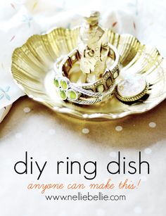 A diy ring dish that is so easy to make with a thrift store dish and knick-knack. This would make a great gift!