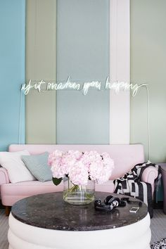Get the Look: A Pastel Lounge With a Hint of Rock 'n' Roll via @domainehome