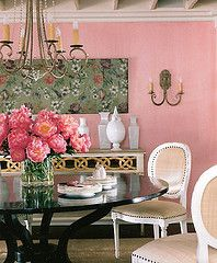 pink dining room, shabby