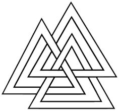 A Valknut symbol ~ said to represent Odin.  Be wary of it's current popularity as a modern-day symbol of white supremacy.