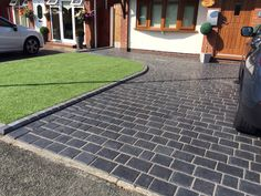 Drivesys split stone in basalt colour laid in Fazakerley Liverpool by Abel landscaping