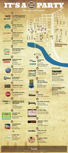 SXSW Interactive Map / Infographic - South by Southwest Interactive, the legendary and never-too-crowded festival for all things web-related, is around the corner. This infographic shows a list-slash-map of all the big parties and events, courtesy of Hasai.