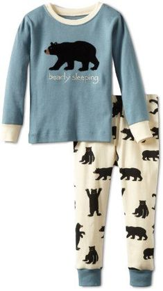 Hatley Big Boys' Bears on Natural Bearly Sleeping Pajama Set, Blue, 10 Pyjamas, Pjs, Big Boys, Little Boys, Bare Necessities, Pj Sets, Pajama Set, Kids Outfits, Kids Fashion