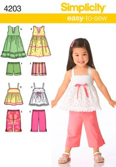 Toddler Dress, Top, Cropped Pants Sewing Pattern 4203 Simplicity