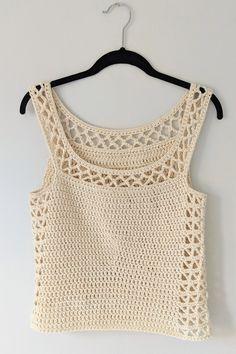 The Perfect Crocheted Summer Top - Free Pattern (Beautiful Skills - Crochet Knitting Quilting) - Crochet Tank Tops, Crochet Summer Tops, Crochet Shirt, Crochet Bikini, Knit Crochet, Pull Torsadé, Crochet Girls, Freeform Crochet, Crochet Fashion