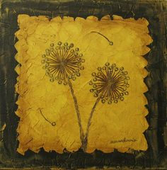 acrylic painting - Dandelions in Mustard Yellow by Susan Gordon