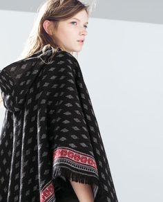 ETHNIC PATTERN PONCHO from Zara