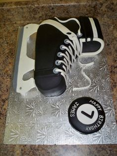 Hockey skate cake for a friend's skating party