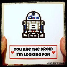 Star Wars R2D2 Hama Perler Bead Geeky Valentine's Card by CraftGeekBoutique