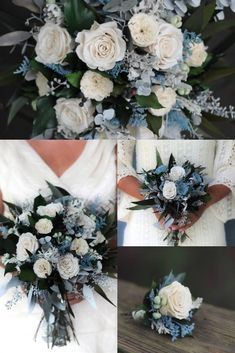 Wedding Flower Set | Dried Flowers | Dusty Blue Bouquet | Ivory | Boutonnière | Corsage | Dry Flower Bouquets | Navy Blue  | Dusty Blue