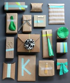 Ditch boring, old wrapping paper. Use candles, blowers, balloons and more on plain kraft paper to embellish—whatever you have around the house can work. Attach using colorful or patterned tape for an extra festive layer. These bright packages are (almost!) too pretty to open.