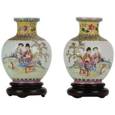 Very nice set of 2 Vases of extremely thin porcelain with figures in a garden. Marked Qianlong at base. Condition Overall condition perfect. Oriental Furniture, Art Furniture, Fine Porcelain, Porcelain Ceramics, Painted Porcelain, Traditional Vases, Chinese Figurines, Art Nouveau Pattern, China Tea Sets