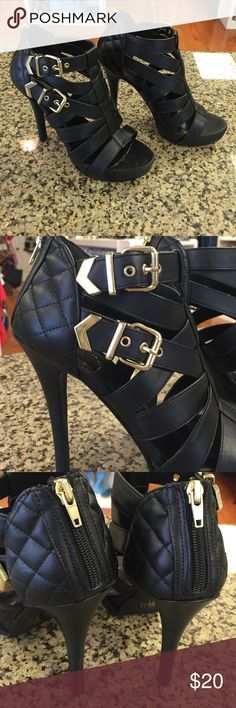 "Charlotte Russe Heels Black with gold buckles, adjustable strap closure. Open toed. Good condition, only worn a few times. 5"" heel Charlotte Russe Shoes Heels"