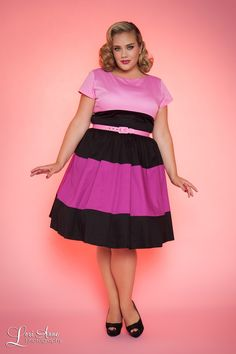 Amanda Dress in Baton Rouge and Pink - Plus Size
