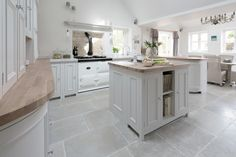 Neptune Chichester Kitchen Wood worktop instead of granite? Open Plan Kitchen, Country Kitchen, Kitchen Living, New Kitchen, Kitchen Ideas, Kitchen Interior, Kitchen Design, Kitchen Flooring, White Kitchen Floor Tiles