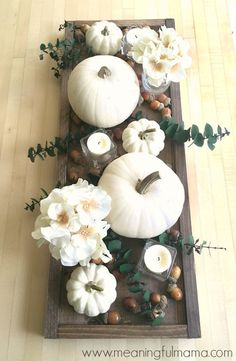 Contemporary Fall Centerpiece Idea with White Pumpkins - Modern Thanksgiving Table Decorations (thanksgiving decorations) Diy Thanksgiving Centerpieces, Centerpiece Decorations, Decoration Table, Thanksgiving Table Decor, White Pumpkin Centerpieces, Fall Table Centerpieces, Harvest Table Decorations, Fall Church Decorations, Thanksgiving Wedding