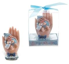 Baby Sitting on Palm Poly Resin - Blue Case Pack 48