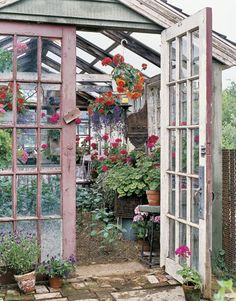 i want a greenhouse. a rabbit free, slug and snail free, wind proof and water proof greenhouse! Greenhouse Shed, Greenhouse Gardening, Window Greenhouse, Simple Greenhouse, Homemade Greenhouse, Outdoor Greenhouse, Greenhouse Growing, Outdoor Rooms, Outdoor Gardens