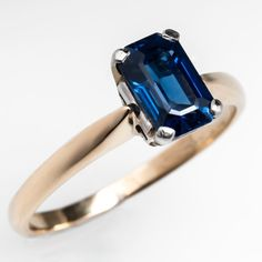Emerald Cut Sapphire Solitaire Engagement Ring