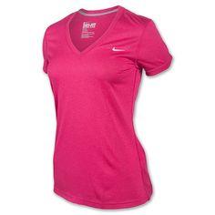 Nike V-Neck Legend Dri-FIT Women's Tee Shirt| FinishLine.com | Sport Fuschia