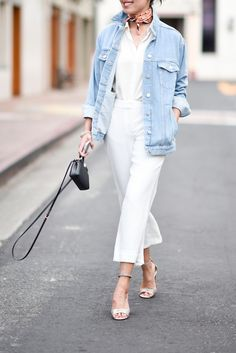 Good morning! Playing with proportions (and going for the extra-slouchy look) in culottes and an oversized denim jacket. Hope you're having a great start to you