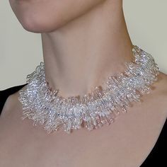 Full Feather Clear Necklace by Marna Clark: Art Glass Necklace available at www.artfulhome.com
