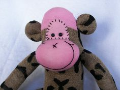 Sock Monkey Doll Plush Toy  in Leopard by AsYouWishCreations4u, $27.00