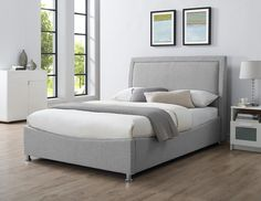 The Emelia is ideal for a storage solution in a modern decor upholstered bed. With deep cushioned headboard and curved foot end gives a stylish finish. Cushion Headboard, Upholstered Beds, Cheap Beds For Sale, Pine Bed Frame, Pine Beds, Bed Legs, Old Beds, Bed Frame With Storage, Velvet Bed