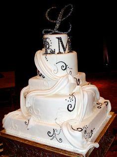Wedding cake with ribbon [Dominion Valley Country Club] www.dominionvalleycountryclub.com