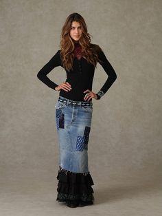 Denim hippie jean skirt recycled patchwork applique vintage lace ...