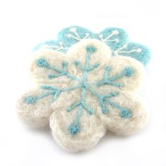 Needle Felted Snow flacks Coasters by RolyzTreasures, $24.00