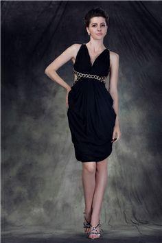 Sexy Mini-Length V-Neck Anderai's Cocktail Dress