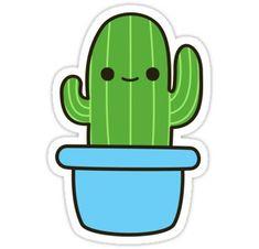 Cute cactus in blue pot Sticker - Kawaii ❤️ - Stickers Cool, Stickers Kawaii, Cactus Stickers, Tumblr Stickers, Printable Stickers, Laptop Stickers, Planner Stickers, Cute Easy Drawings, Cute Kawaii Drawings