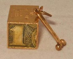 14K Gold Charm Emergency $ Dollar  Hammer Vintage 50s Break the Glass Box Huge