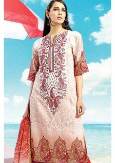 Red, Beige Cotton Salwar Kameez, - £74.00, #DesignerSalwarKameez #ShopNow #PromDress #Shopkund