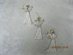 "3 SPUN GLASS Christmas Angels Ornaments.. 3 1/2"" tall. Trimmed in Gold Christmas Angel Ornaments, Glass Ornaments, Drop Earrings, Gold, Ebay, Jewelry, Jewlery, Jewerly, Schmuck"
