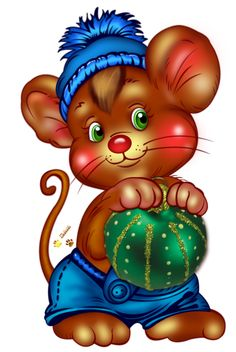 CHRISTMAS MOUSE WITH ORNAMENT..reminds me of a little book I used to read to my children. So sweet!
