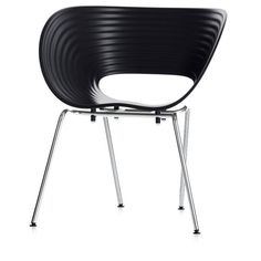 Vitra Tom Vac Chair - Basic Dark (€290) ❤ liked on Polyvore featuring home, furniture, chairs, black, vitra chair, black stackable chairs, black chair, vitra furniture and black furniture