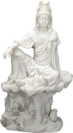 7 Inch Cream Toned Cold Cast Resin 'Water and Moon Kuan Yin' Statue *** Additional details at the pin image, click it : Christmas Decorations Guanyin, Buddha, Lion Sculpture, It Cast, Christmas Decorations, Moon, Fine Art, Statue, Water