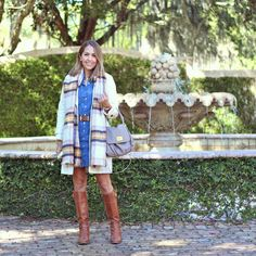 Chambray dress, plaid scarf, ivory coat