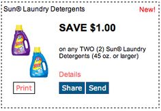Sun Laundry Detergent. Click for more great deals! #Coupons #Deals #Home #Laundry #Clean