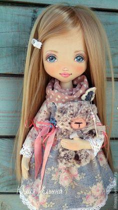 Купить Танюшка - голубой, кукла ручной работы, коллекционная кукла, авторская ручная работа: