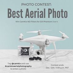 We're excited to announce another #photocontest! Winner gets a free CamKix ND filter set for DJI Phantom 3 and 4. #camkixaerialphotography #dronephotography #aerialphotography